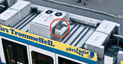 Sensor node on top of a public transport vehicle.